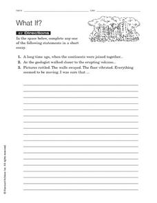 Short Essay Writing: What If? Worksheet