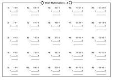 math worksheet : short multiplication x 4 3rd  4th grade worksheet  lesson pla  : Short Multiplication Worksheets