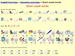 Short Vowel Words Worksheet
