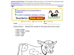 Short Vowels: Read and Color Worksheet