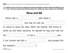 Show and Tell Worksheet