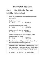 "Show What You Know: ""How Spiders Got Eight Legs"" Worksheet"