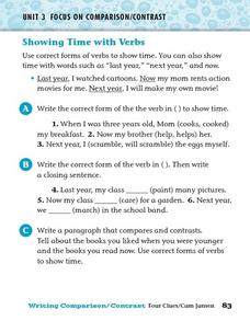 Showing Time with Verbs Worksheet