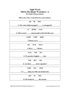 Sight Word Fill In The Blank-Worksheet L Worksheet