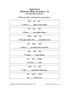 Sight Word Fill In The Blank Worksheet M Worksheet