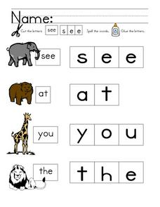 Sight Word Practice: see, at, you, the Worksheet