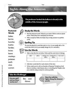 Sights Along the Amazon Worksheet