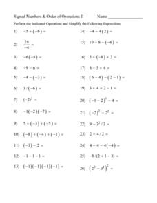 Worksheet Order Of Operations Worksheets 8th Grade signed numbers and order of operations ii 7th 8th grade lesson plan