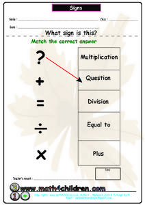 Signs - Math Symbols Worksheet