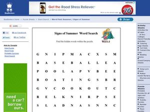 Signs of Summer Word Search Worksheet