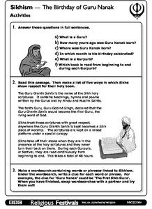 Sikhism - The Birthday of Guru Nanak, Activities Worksheet
