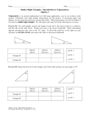 Similar Right Triangles-Introductions to Trigonometry Worksheet