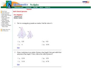 Similar Solids Worksheet