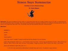Simon Says Summarize Lesson Plan