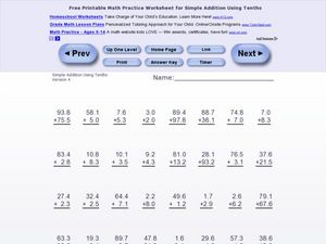 Simple Addition Using Tenths Worksheet