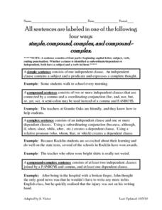 Compound Sentences vs. Complex Sentences Worksheet | Sentences ...