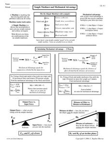 Simple Machines and Mechanical Advantage Worksheet