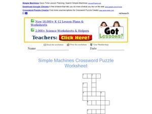Simple Machines Crossword Worksheet