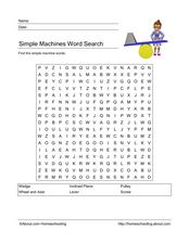 Simple Machines Word Search Worksheet