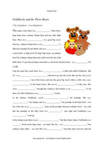 Simple Past-- Goldilocks and the Three Bears Worksheet