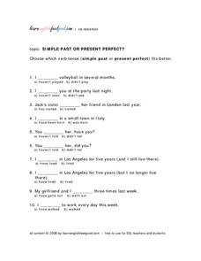 Simple Past Or Present Perfect? Lesson Plan