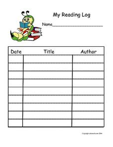 Simple Reading Log With Caterpillar Worksheet