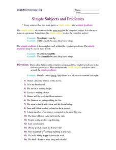 Simple Subjects and Predicates Worksheet