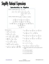 Simplify Rational Expressions Worksheet