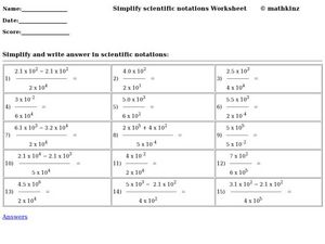 Simplify Scientific Notation Worksheet