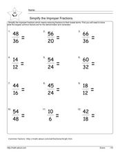 Simplify the Improper Fractions Worksheet