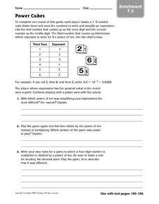 Simplifying Expressions: Enrichment Game Worksheet