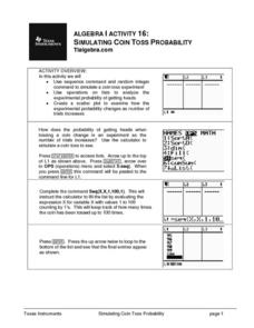Simulating Coin Toss Probability Lesson Plan