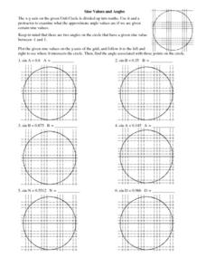 Sine Values and Angles Worksheet