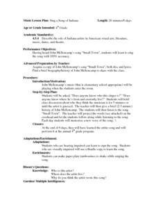 Sing a Song of Indiana Lesson Plan