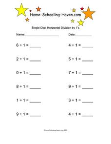 Single Digit Horizontal Division by 1's, #2 Worksheet