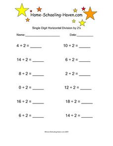 Single Digit Horizontal Division by 2s Worksheet