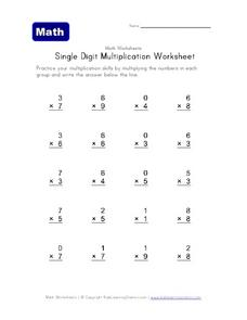 Single Digit Multiplication Worksheet Worksheet
