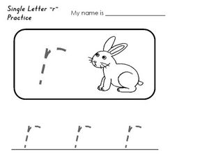 Single Letter R Practice Worksheet