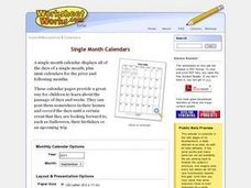 Single Month Calendars Worksheet