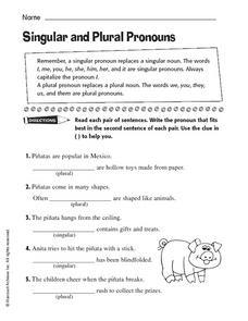 Singular and Plural Pronouns 2nd - 3rd Grade Worksheet | Lesson Planet