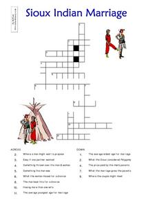 Sioux Indian Marriage Worksheet