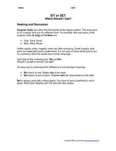Sit or Set-What Should I Use? Worksheet