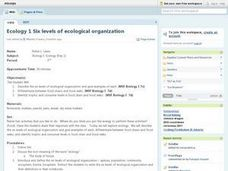 Six Levels of Ecological Organization Lesson Plan