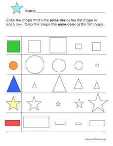 Size and Shape Worksheet