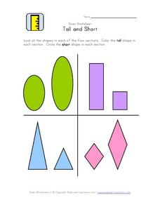 Size Worksheet: Tall and Short Worksheet