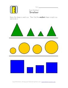 Sizes Worksheet: Smallest Worksheet