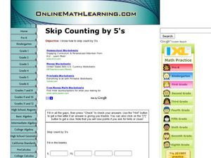 Skip Counting by 5's Worksheet