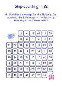 Skip-counting in 2s Worksheet