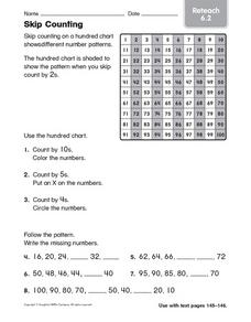 Skip Counting: Reteach Worksheet