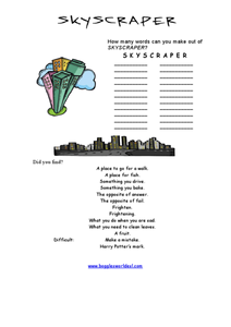 Skyscraper Word Challenge Worksheet